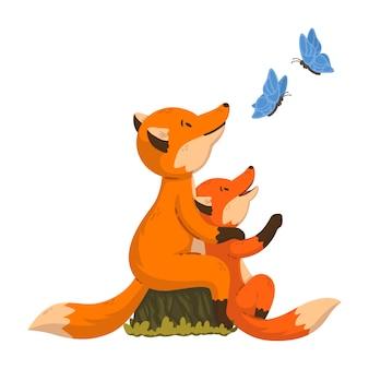 2匹のキツネが蝶を見ています。漫画の赤ちゃんと森の動物の親。