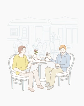 Two freelancers talking jobs at open air cafe in line art