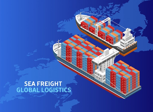 Two freight vessels over world map