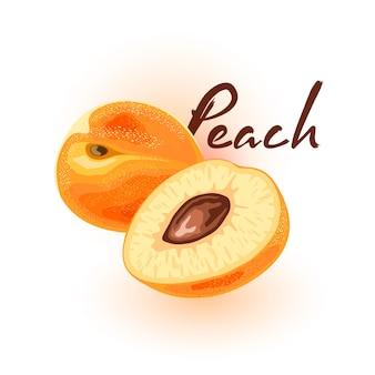 Два свежих аппетитных персика, целых и разрезанных. сочные сладкие круглые плоды желтого цвета. летний перекус. нектарины, абрикосы. мультфильм значок на белом для упаковки, рецепт, поваренная книга, рыночная этикетка.