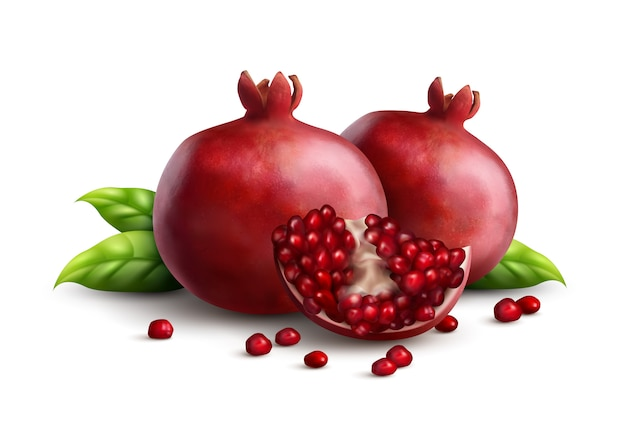 Two fresh ripe whole pomegranates with quarter part and strewn seeds appetizing closeup realistic composition