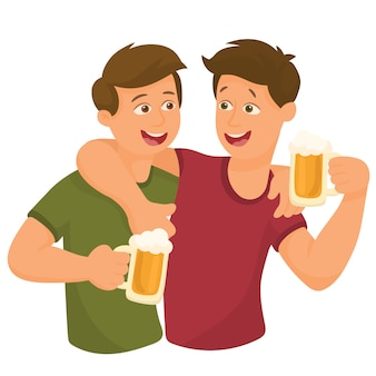 Two friends drinking beer