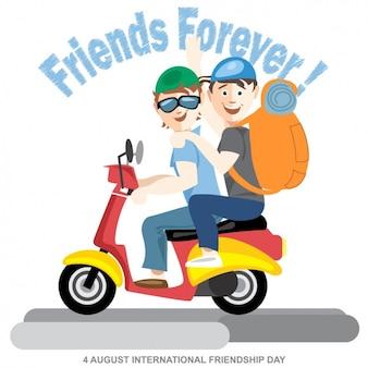 オートバイに二人の友人