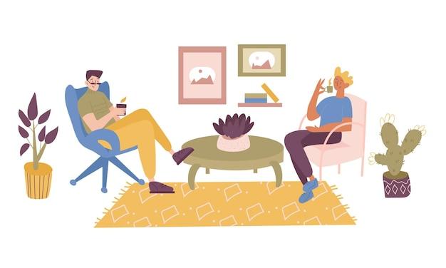 Двое друзей, учеников, рабочих или коллег, сидящих в удобном кресле.
