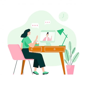 Two friends on video meeting. video call concept. flat vector illustration.