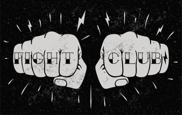 Two front view fists with fight club caption tattoo on fingers. fighting club concept illustration for poster  or t-shirt . vintage styled  illustration