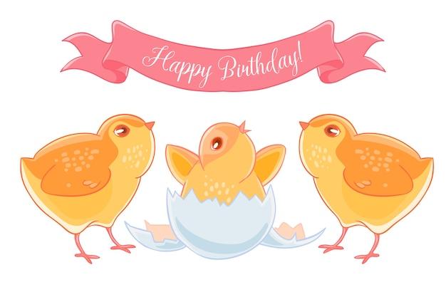 Two funny cartoon chick congratulations newborn yellow chicken.