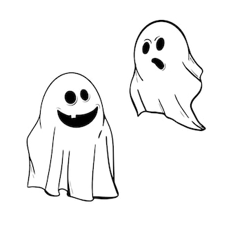 Two funny ghosts in ink on white. halloween design elements or stickers