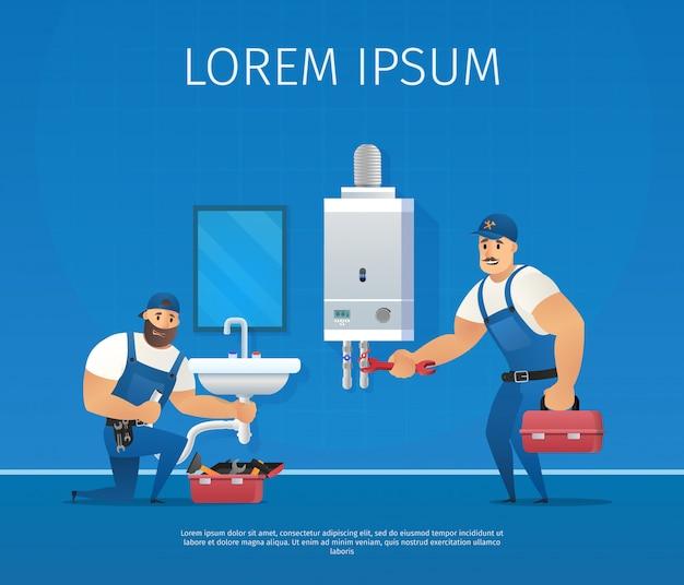 Two funny plumbers repair pipe and boiler maintenance.