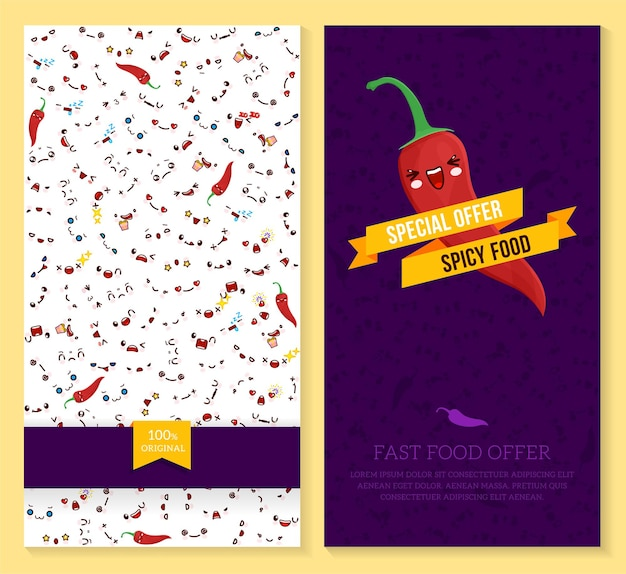Two funny tickets design with kawaii emotion pattern and chili pepper