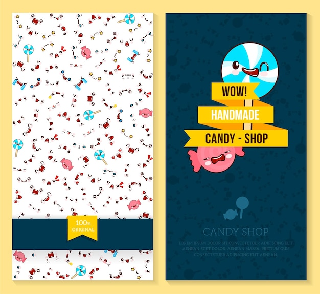 Two funny tickets design with kawaii emotion pattern and sweet candy