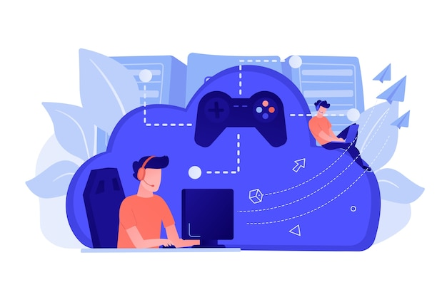 Due giocatori che giocano computer collegati con il joystick. gaming on demand, streaming di video e file, tecnologia cloud, concetto di gioco di vari dispositivi. illustrazione vettoriale isolato.
