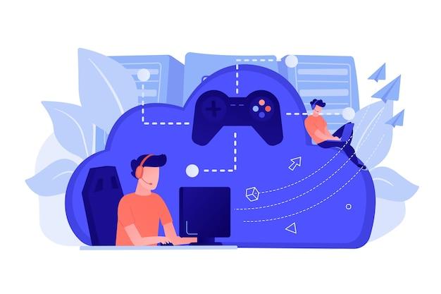 ジョイスティックに接続されたコンピューターをプレイする2人のゲーマー。オンデマンドゲーム、ビデオおよびファイルストリーミング、クラウドテクノロジー、さまざまなデバイスのゲームコンセプト。ベクトル分離イラスト。