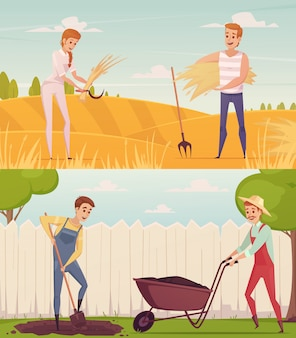 Two gardener farmer cartoon people compositions set
