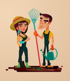 두 정원사 남자와 여자 캐릭터. 벡터 평면 만화 일러스트 레이션