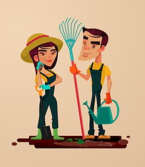 Two gardeners man and woman character. vector flat cartoon illustration