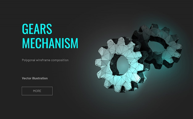 Two gears. polygonal wirefram
