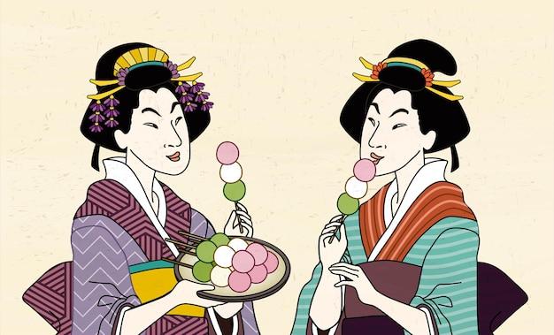 Two geisha eating mitarashi dango in kimono, ukiyo-e style