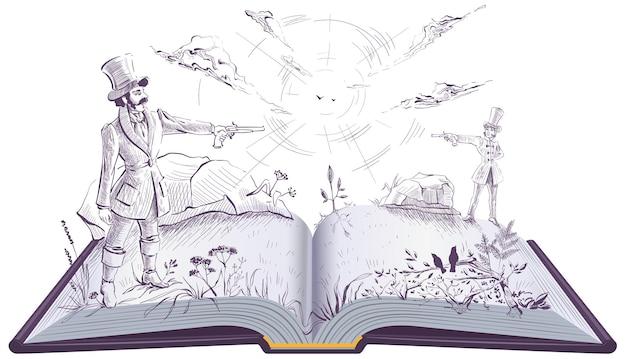 Two gentlemen man had duel on vintage pistols. open book illustration novel.  isolated on white