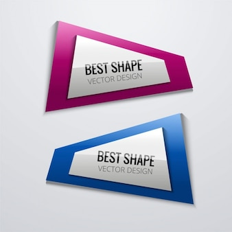 Two geometric banners with glossy texture