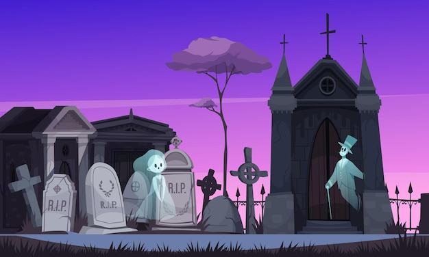 Two ghosts in old fashioned clothing walking along old cemetery at night