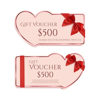 Two gift card templates with red ribbon and a bow. valentines day banner concept.