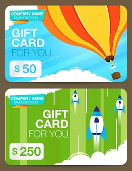Two of gift cards or discount cards with colorful design