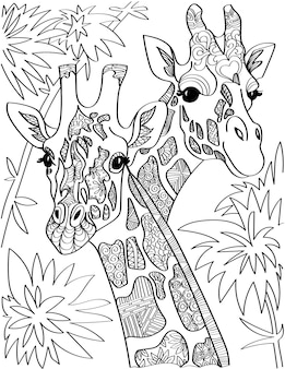 Two giraffe head looking at both sides with tall trees colorless line drawing giraffa heads long