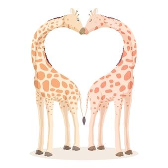 Два жирафа целуются, их шеи согнуты в форме сердца Premium векторы
