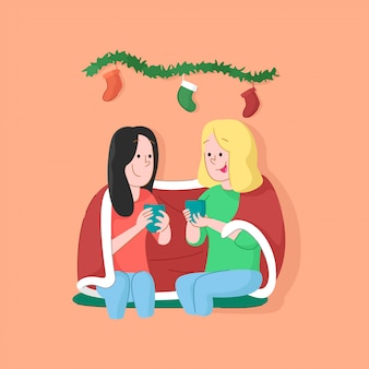 Two girl drinks hot chocolate. christmas illustration
