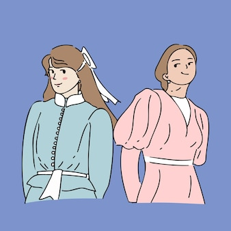 Two girl holding hands behind back, women solidarity concept illustration