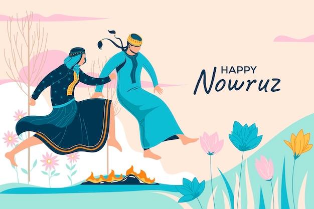 두 소녀가 불 위로 뛰어 오르고 nowruz를 축하하는 다른 방법은 페르시아 새해를 의미합니다.
