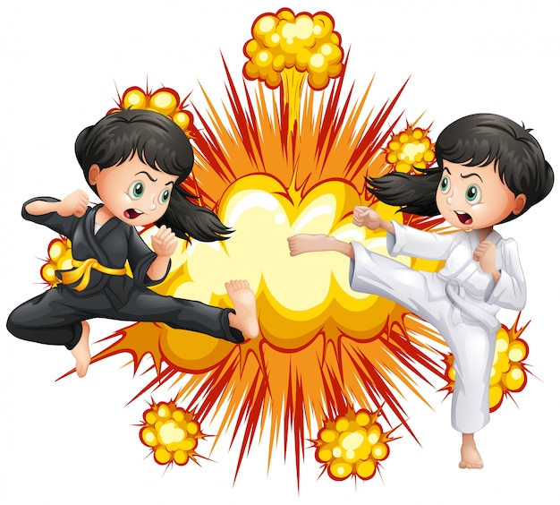 Two girl in kungfu outfit fighting
