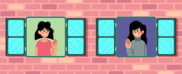 Две девушки улыбаются и приветствуют друг друга в плоской векторной иллюстрации windows