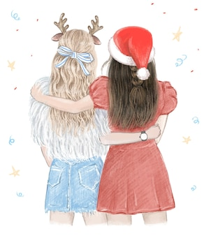 Two girls best friends in christmas hand drawn illustration