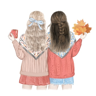Two girls, best friends in the fall. hand drawn illustration.