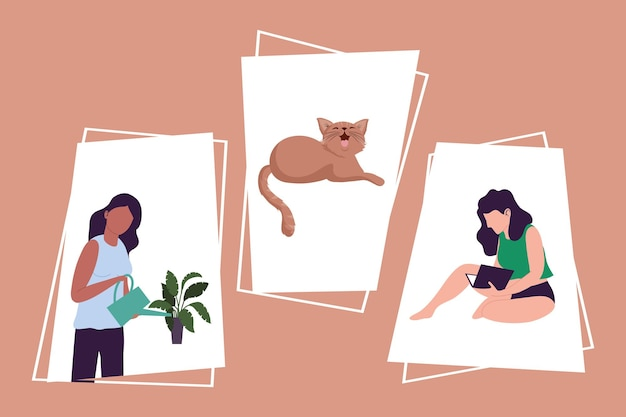 Two girls and cat characters