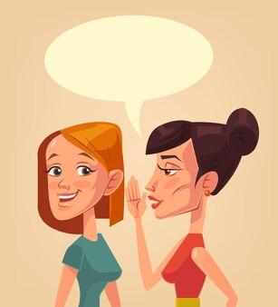 お互いに秘密を告げるうわさ話をする2人の女の子のキャラクター