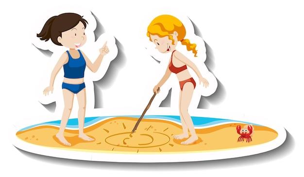 Two girls drawing on sand cartoon sticker