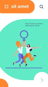 Two girls holding female symbol. women with venus sign celebrating woman day flat vector illustration