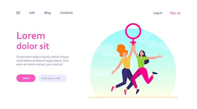 여성 상징을 들고 두 여자입니다. 여자의 날을 축 하하는 금성 기호를 가진 여자. 웹 사이트 디자인 또는 방문 웹 페이지에 대한 소녀 파워, 권한 부여, 페미니즘 개념