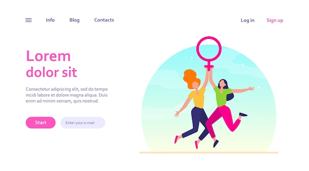 Two girls holding female symbol. women with venus sign celebrating woman day. girl power, empowerment, feminism concept for website design or landing web page
