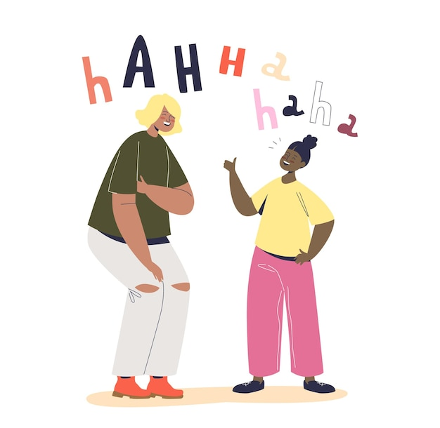 Две девушки громко смеются. симпатичные мультяшные подруги, шутя, рассказывают забавные истории, веселятся и веселятся вместе, счастливы, улыбаясь. плоские векторные иллюстрации