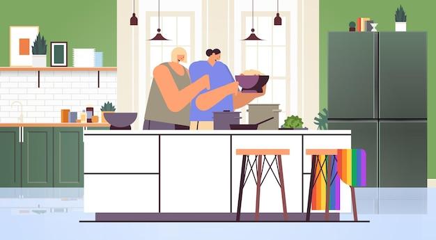 부엌 트랜스젠더 사랑 lgbt 커뮤니티 개념 수평 거실 인테리어 벡터 일러스트 레이 션에 음식을 준비하는 두 여자 레즈비언 커플