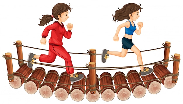 Two girls running on the wooden bridge