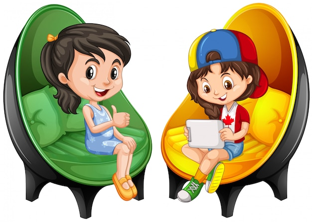 Two girls sitting on chairs