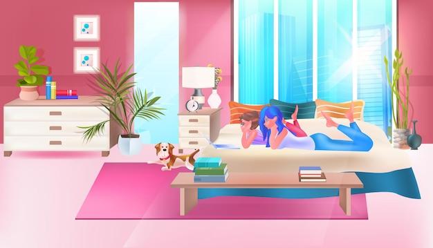 Two girls using chatting app on laptop social media network online communication concept bedroom interior full length horizontal vector illustration