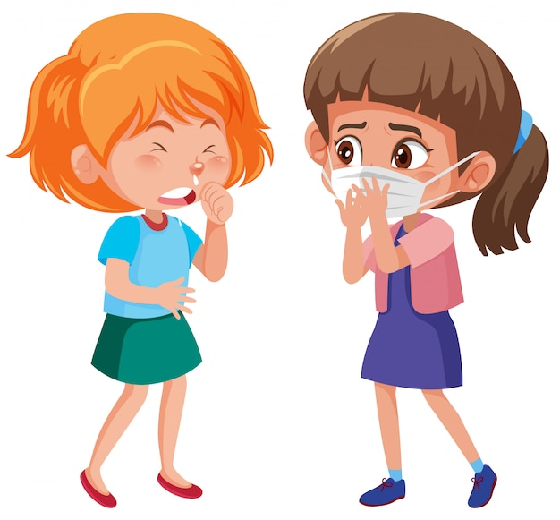 Two girls with runny nose on white
