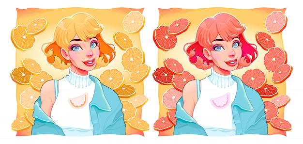 Две девушки с ломтиками лимона и апельсина на фоне