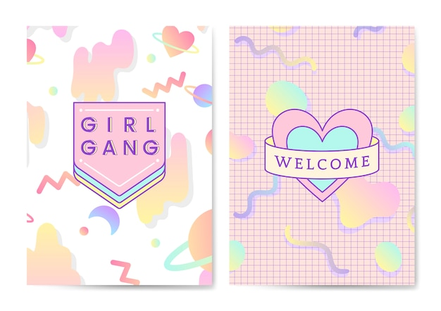 두 여성스럽고 귀여운 포스터 벡터